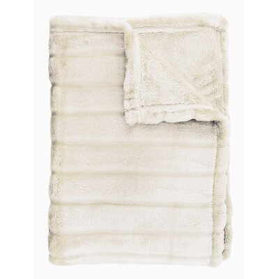 Sculpted Bliss Velvet Blanket Size: Twin, Color: Ivory