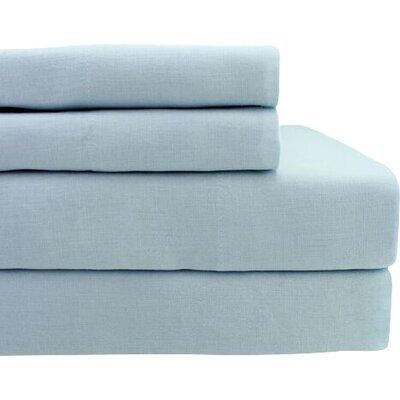 Belgian Linen Sheet Set Size: King, Color: Light Grey Blue