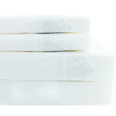True Cotton Percale Baby's Breath Embroidery Pillowcase Color: White