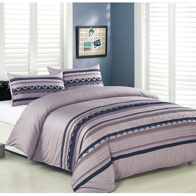 3 Piece Duvet Cover Set Size: Full/Queen, Color: Purple