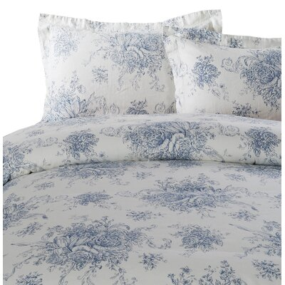 Hemstitch Toile 3 Piece Duvet Set Size: Full/Queen, Color: Navy