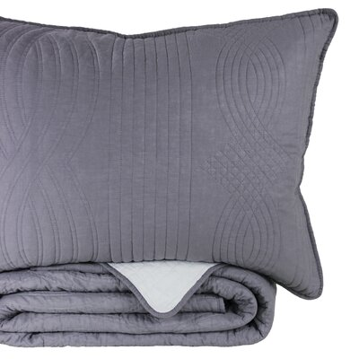 Ethel Reversible Standard Sham Color: Dark Gray/Light Gray