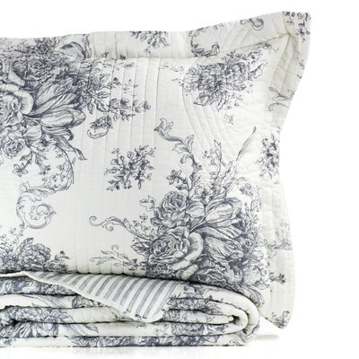 Toile Reversible Standard Sham Color: Gray