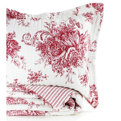 Toile Reversible Standard Sham Color: Red