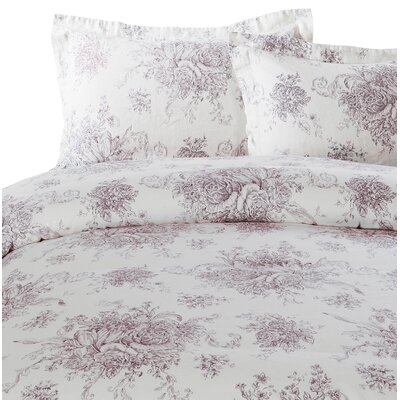 Hemstitch Toile 3 Piece Duvet Set Size: Full/Queen, Color: Burgundy