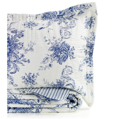 Toile Reversible 100% Cotton Quilt Size: Full/Queen, Color: Navy