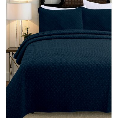 3 Piece Quilt Set Size: Full/Queen, Color: Indigo