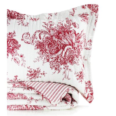 Toile Reversible 100% Cotton Quilt Size: King, Color: Red