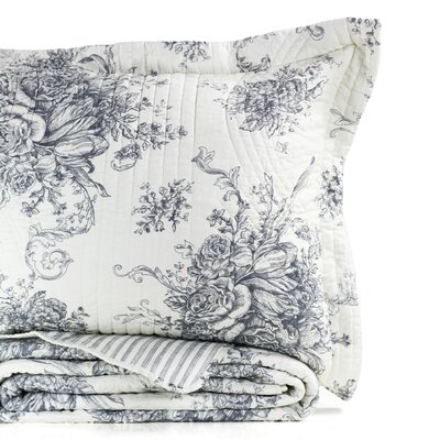 Toile Reversible 100% Cotton Quilt Color: Gray, Size: King