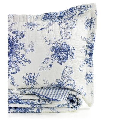 Toile Reversible Standard Sham Color: Navy