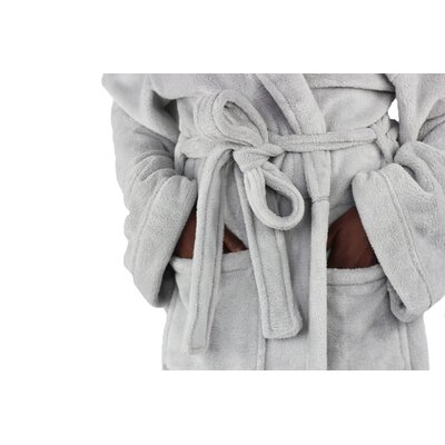 Micro Fleece Bathrobe Color: Pebble Gray
