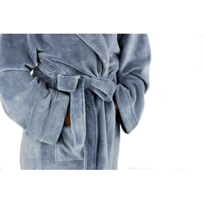 Micro Fleece Bathrobe Color: Slate Blue