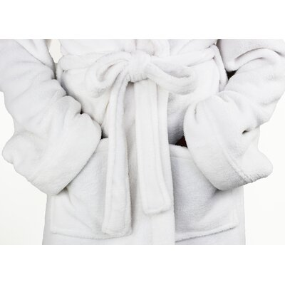 Micro Fleece Bathrobe Color: White