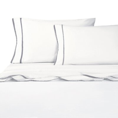 Drakeford Embroidered 4 Piece Sheet Set Size: Queen