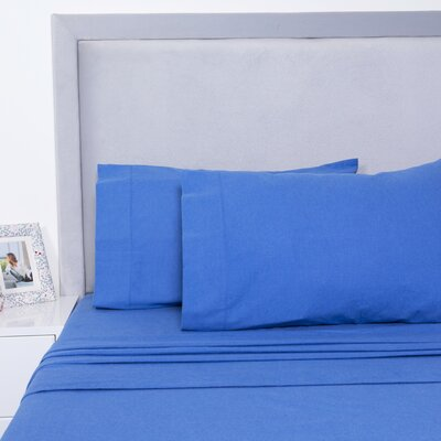 Yarn Dyed Cotton Sheet Set Size: Full, Color: Blue