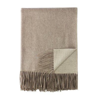 Merino Wool Reversible Throw Color: Ivory