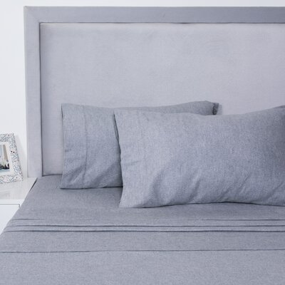 Yarn Dyed Cotton Sheet Set Size: Full, Color: Gray