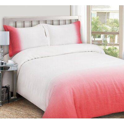 Duvet Cover Set Size: Full / Queen, Color: Coral