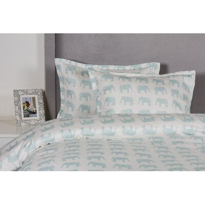 Elephant Duvet Cover Set Color: Aqua, Size: King