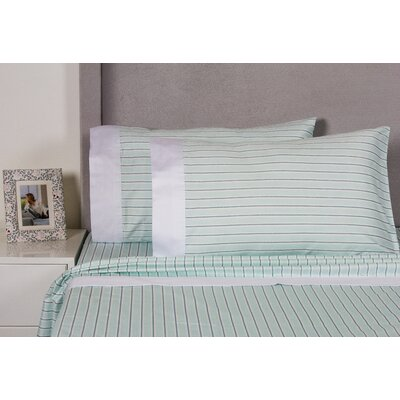 Euston Stripe 400 Thread Count Cotton Sheet Set Size: Full, Color: Aqua
