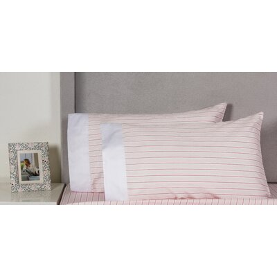 Stripe Cotton 400 Thread Count Embroidered Pillowcase Color: Pink