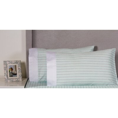 Stripe Cotton 400 Thread Count Embroidered Pillowcase Color: Aqua