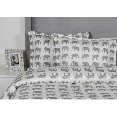 Elephant Duvet Cover Set Size: Twin, Color: Gray