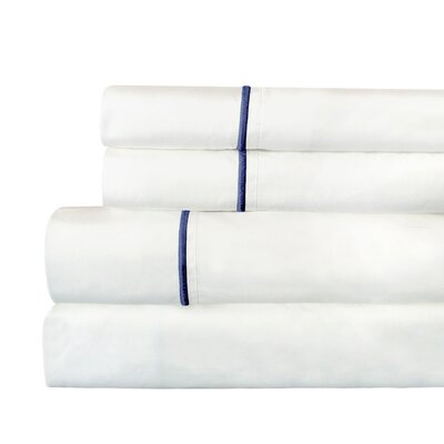 Stripe 300 Thread Count Cotton Percale Sheet Set Size: King, Color: Navy