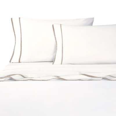 Parallel Border Sheet Set Size: California King, Color: Khaki