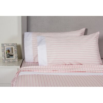 Euston Stripe 400 Thread Count Cotton Sheet Set Size: Queen, Color: Pink