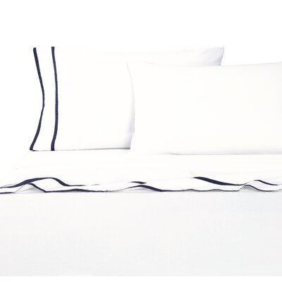 Parallel Border Sheet Set Size: California King, Color: Navy