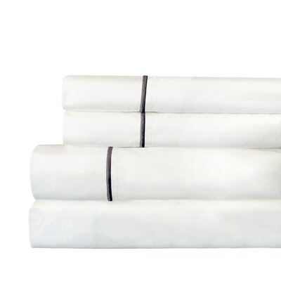 Stripe 300 Thread Count Cotton Percale Sheet Set Size: Queen, Color: Charcoal