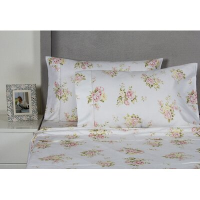 Rose Bouquet 400 Thread Count Cotton Sheet Set Size: Full