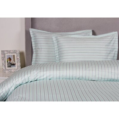 Stripe Duvet Cover Set Color: Aqua, Size: Full / Queen