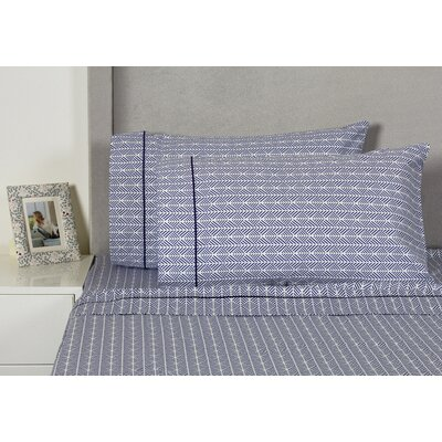 Arrows 400 Thread Count Cotton Sheet Set Size: Full, Color: Blue