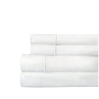 Stripe 300 Thread Count Cotton Percale Sheet Set Size: Queen, Color: White