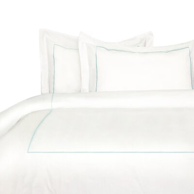 Stripe Duvet Cover Set Color: Aqua, Size: King