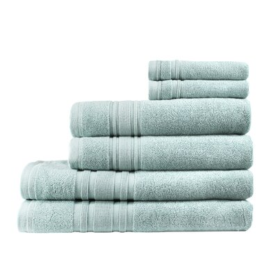 Turkish Cotton Ensemble 6 Piece Towel Set Color: Celestial Blue