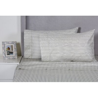 Stripe 400 Thread Count Cotton Sheet Set Color: Gray, Size: Queen