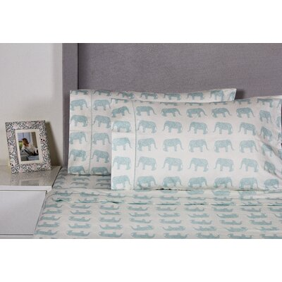 Elephant 400 Thread Count Cotton Sheet Set Color: Aqua, Size: Queen