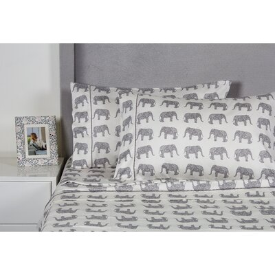 Elephant 400 Thread Count Cotton Sheet Set Size: Twin, Color: Gray
