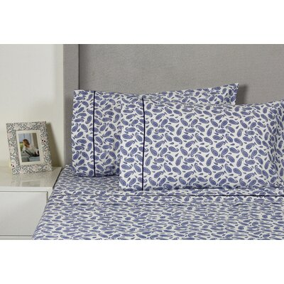 Block Paisley 400 Thread Count Cotton Sheet Set Size: Queen