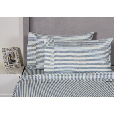 Euston Stripe 400 Thread Count 100% Cotton Sheet Set Size: King, Color: Navy