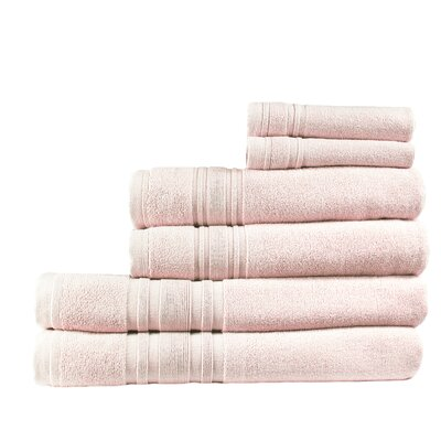 Turkish Cotton Ensemble 6 Piece Towel Set Color: Smokin Pink