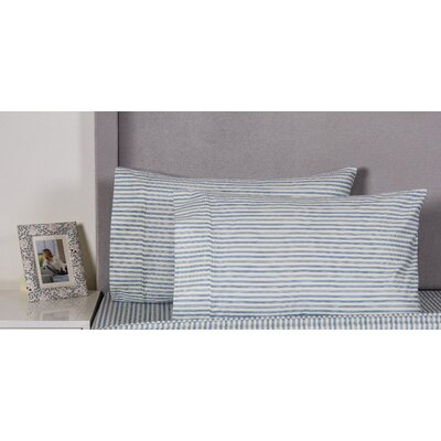 Bamboo Stripe Cotton 400 Thread Count Embroidered Pillowcase Color: Navy