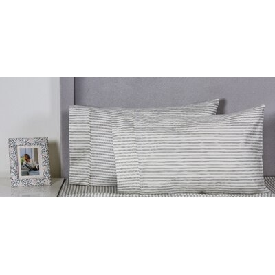 Crosier Stripe Cotton 400 Thread Count Embroidered Pillowcase Color: Gray
