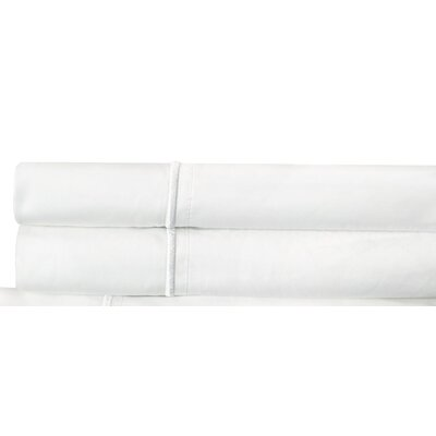 Euston Cotton Percale 300 Thread Count Embroidered Pillowcase Color: White
