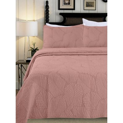 Quilt Set Color: Coral, Size: King