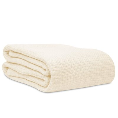 Cotton Woven Blanket Size: Twin, Color: Natural Cream