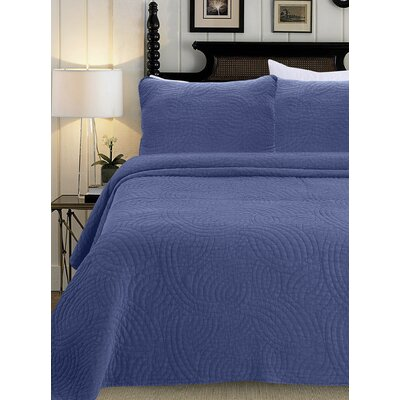 Quilt Set Color: Denim Blue, Size: Full/Queen